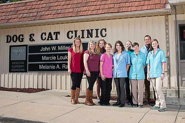 The Dog & Cat Clinic pet care team outside our front door.
